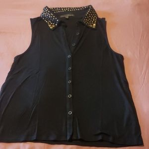 Casual  Sleeveless Button-down shirt